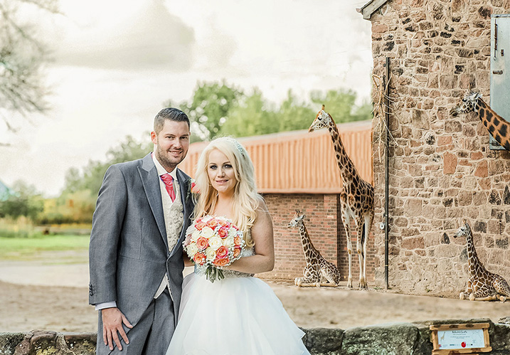 Bride and groom with animals