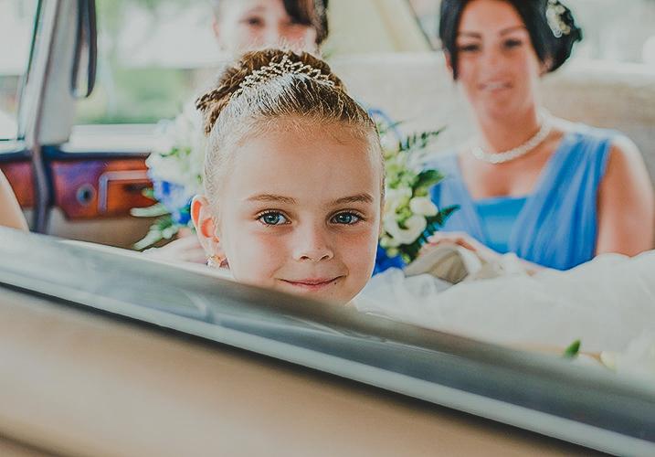 bridesmaid in the wedding car