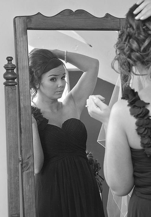 Bridesmaid getting ready Northwich wedding photographer