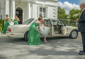 Bride arriving at Runcorn town hall