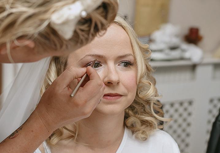 Kimberley having bridal makeup