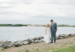 bride and groom wedding photo on Crosby beech