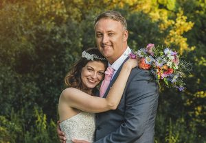 Couple having wedding portrait