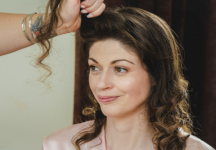 Bride having her hair done